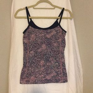 Lilly Pulitzer pink and navy print workout tank